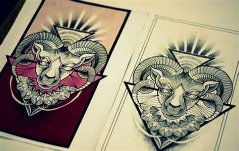 geometric goat tattoo fantastic ram head with mandala and geometric elements