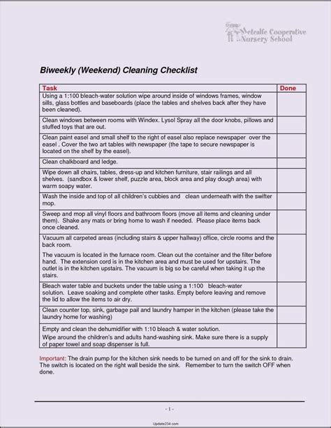 Janitorial Cleaning Template Church Cleaning Checklist Template Template Update234