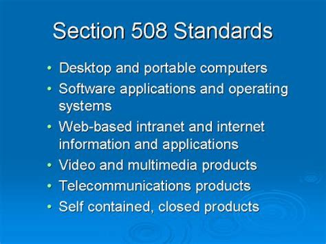 Section 508 Standards by Slides And Notes For It Accessibility