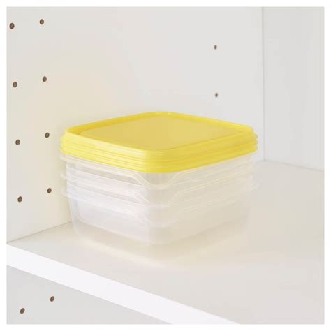 Ikea Pruta 3 pruta food container transparent yellow 0 6 l ikea