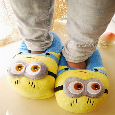 despicable me house slippers despicable me minions indoor slippers plush stuffed funny slippers flock cosplay house