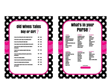 Hot Pink Black Old Wives Tales & What's in your Purse Game