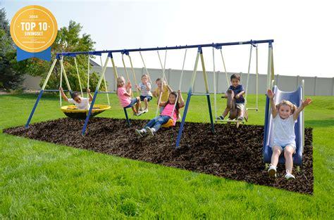 garden swing sets sportspower outdoor 8 metal swing and slide set