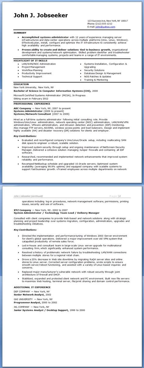 system administrator resume sle experienced resume