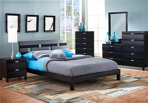 rooms to go bed gardenia black 5pc platform bedroom bedroom sets