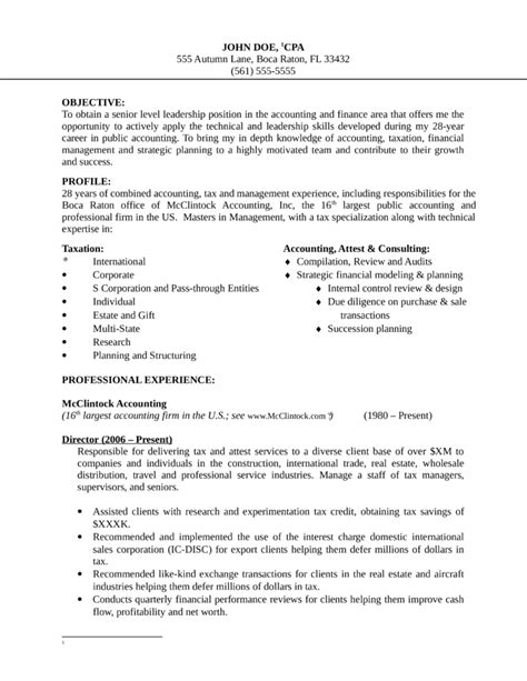 Tax Manager Sle Resume by Basic Finance Manager Resume Template