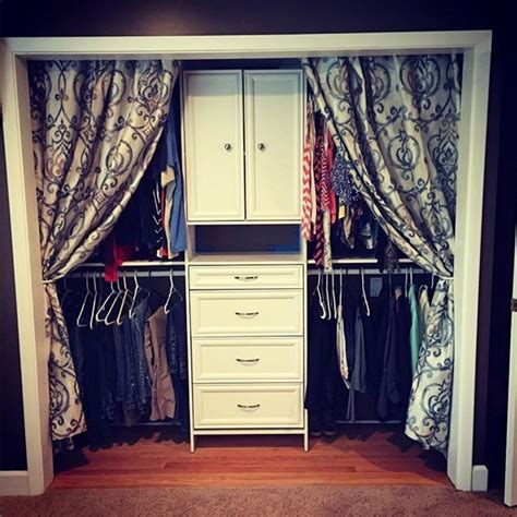 bedroom closet curtains we love this look add curtains if you don t have doors on
