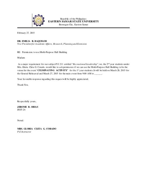 Inquiry Letter For Venue Sle Communication Letter For A Venue