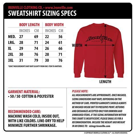 bench clothing sizes bench clothing size chart strong like bull powerlifting sweatshirt ironville