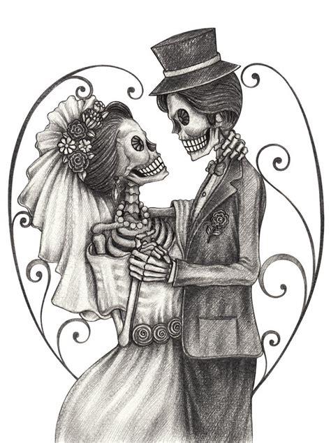 skull art wedding day of the dead stock illustration