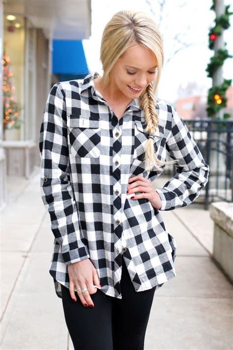 Promo Fashion White Flanel black and white plaid flannel uoionline s clothing boutique