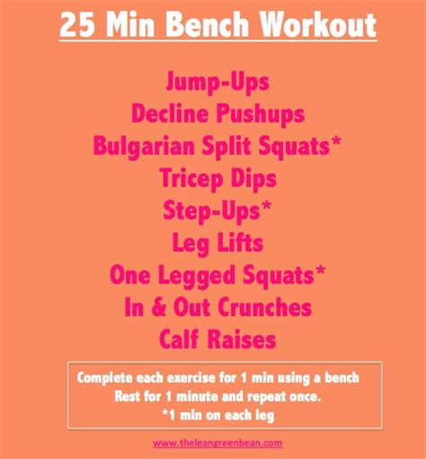 best work out bench best of the bean top 30 workouts