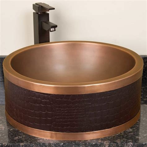 Design For Bathroom Vessel Sink Ideas Copper Vessel Sink With Stupendous Faux Leather Wall Copper Vessel Sink Design Popular