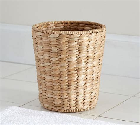 natural seagrass round wicker basket storage waste paper brown handles braid woven round basket