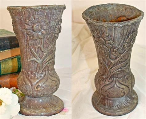 Cemetery Urns And Vases by Antique Nouveau Cast Iron Enamel Floral