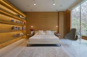 elegant interior design spacious bedroom wooden wall book