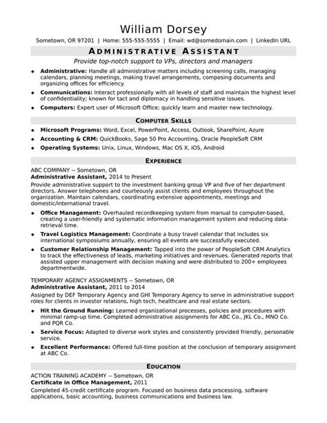 sample executive assistant resume objective administrative