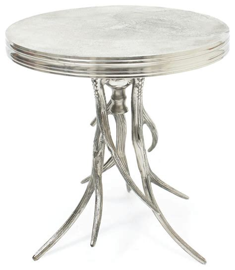 Silver Accent Table Vail Modern Rustic Polished Silver Antler Horn Side Table Traditional Side Tables And End