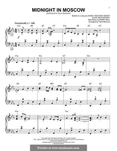 Midnight In Moscow By K Ball Sheet Music On Musicaneo