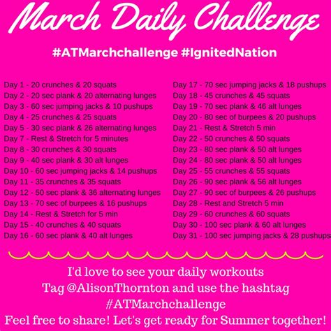 daily fitness challenge free march fitness challenge alison thornton you are