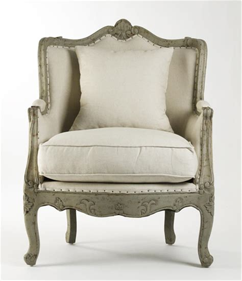 Country Accent Chairs by Adele Country Rustic White Cotton Arm Accent