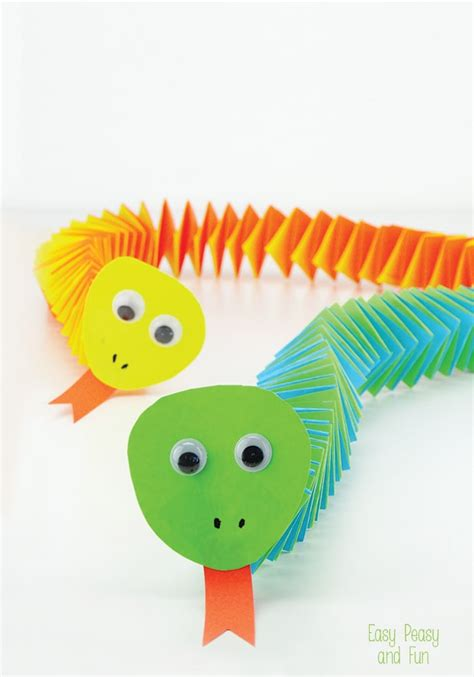 Kid Paper Crafts - accordion paper snake craft easy peasy and