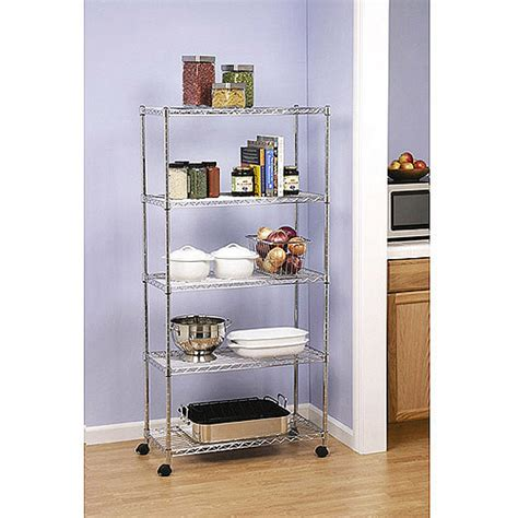 Seville Pantry seville 5 tier rolling storage rack shelves