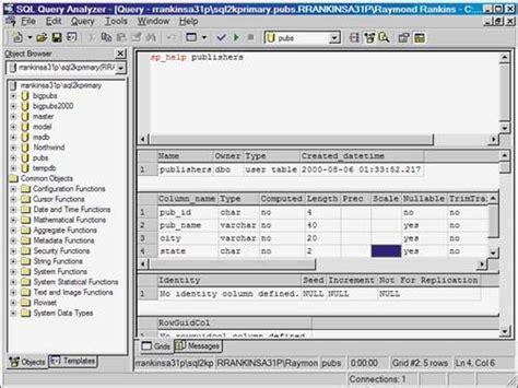 sql query analyser tutorial query analyzer chapter 6 sql server query analyzer and