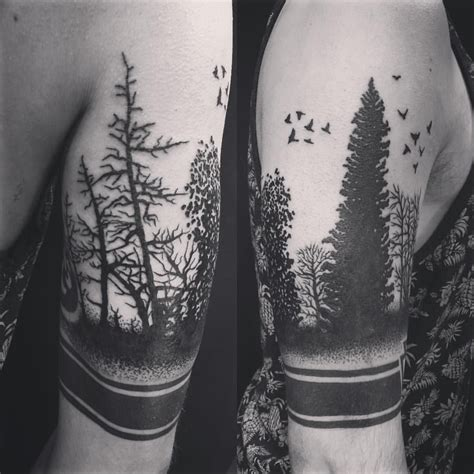 forest silhouette tattoo black work forest silhouette done by oksana weber