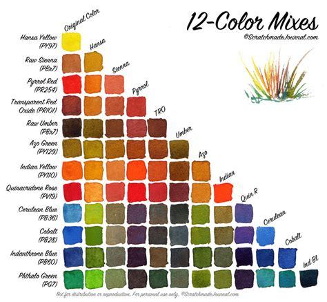 color mixes 12 color watercolor palette scratchmade journal