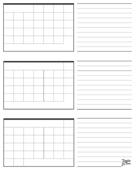 Three Month Calendar Template