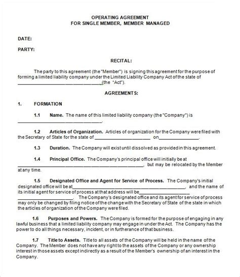llc operating agreement template free operating agreement template for llc template design