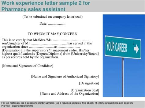 Work Experience Letter Pharmacy Pharmacy Sales Assistant Experience Letter