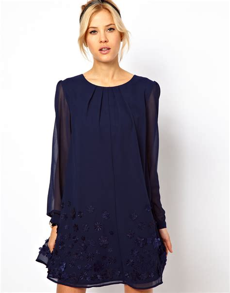 navy swing dress asos collection swing dress with floral embroidery in blue