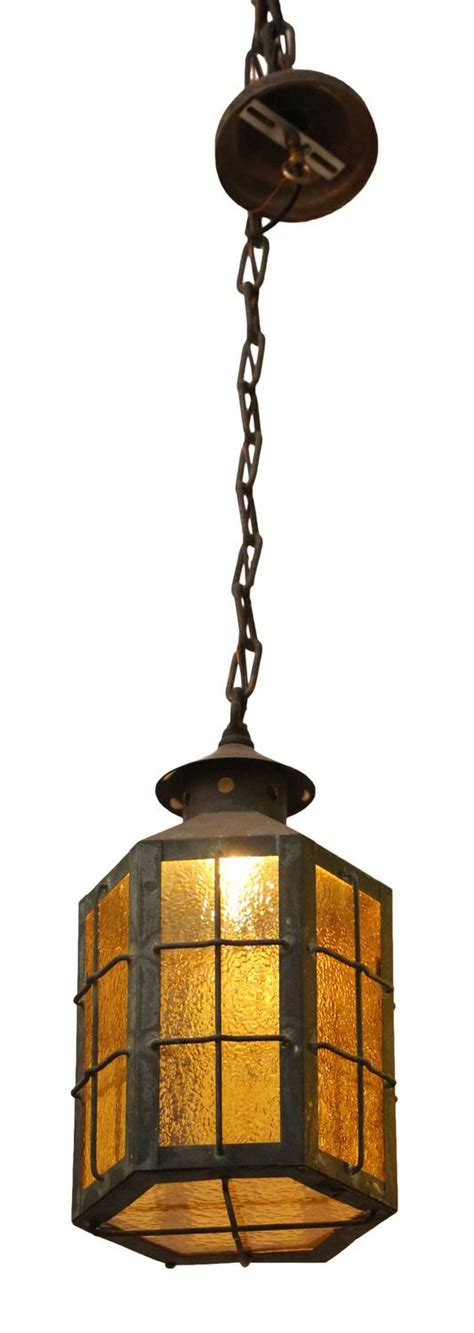 1930s Outdoor Lighting 1930s Pair Of Outdoor Copper Pendant Lanterns With Textured Glass At 1stdibs
