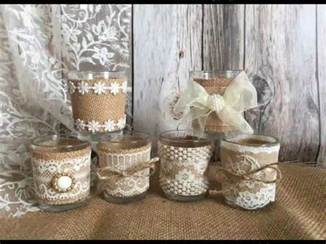 burlap vases, candles, centerpieces, rustic wedding