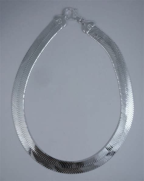 16mm herringbone solid necklace sterling silver 925 italy