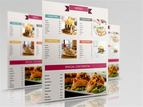 food menu template free 50 free restaurant menu templates food flyers covers