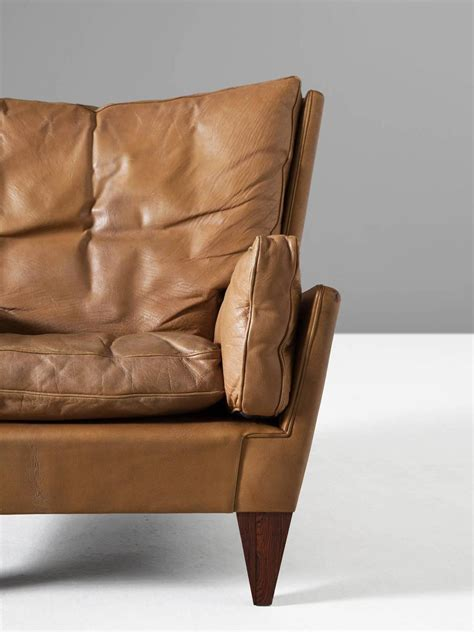 cognac leather ottoman illum wikkels 248 v11 pyramid lounge chair and ottoman in