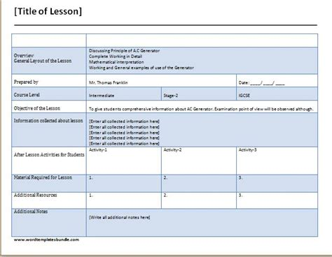 teacher s daily lesson planner template formal word