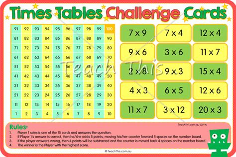 printable times tables games times tables challenge cards fun printable classroom