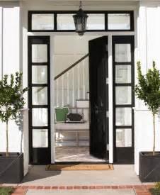 Front Door Windows Glossy Black Front Door With Black Sidelights Transitional Home Exterior