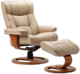 fjords manjana ergonomic leather recliner chair ottoman