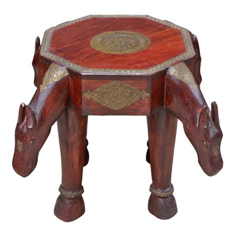 Stools In Horses by Indian Wood And Brass Stool Side Table With Motif
