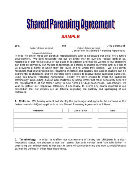 parental agreement template parenting agreement templates 8 free pdf documents