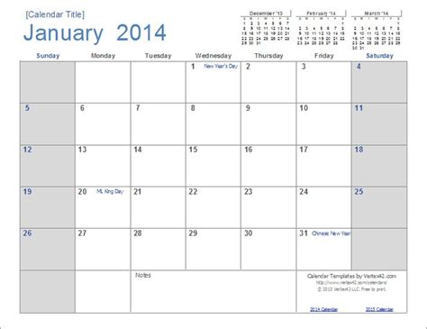 printable calendars vertex42 a new calendar design for 2014 download and edit in