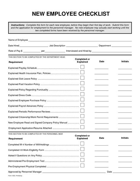 new employee template best photos of employee checklist template new employee