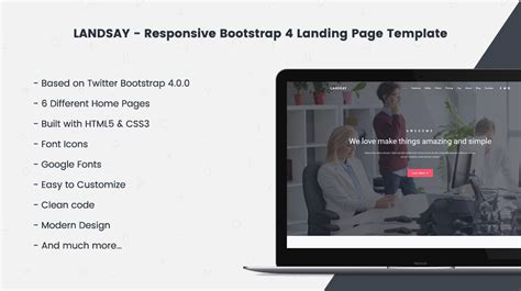 Landsay Bootstrap 4 Landing Page Template Themes Templates Bootstrap 4 Landing Page Template