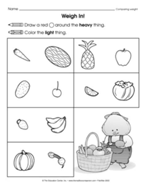 19 best images of sorting heavy and light worksheets for