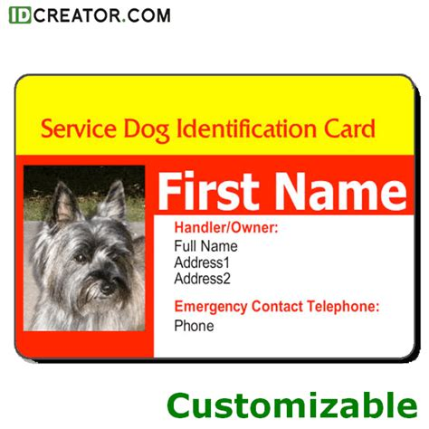 service animal id card template id card templates from idcreator call 855 make ids